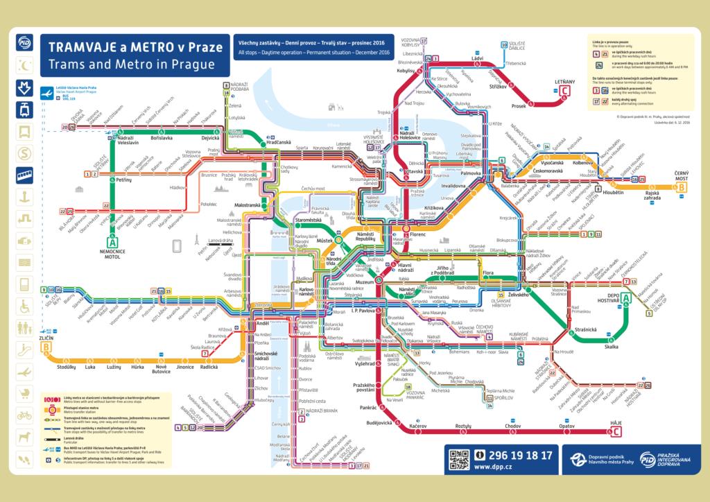 Схема метро и трамвайных маршрутов с подписанными названиями трамвайных остановок