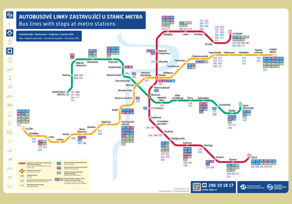 Схема метро Праги с перечисленными номерами автобусов, имеющих остановки на каждой из станций метрополитена