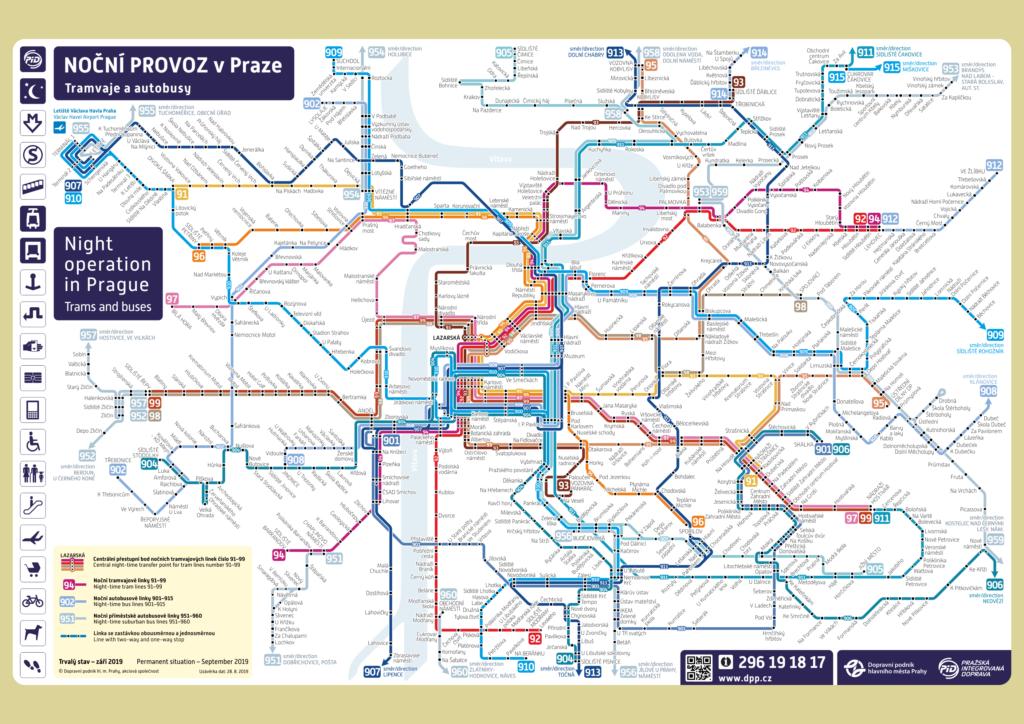 Схема движения общественного транспорта Праги в ночное время
