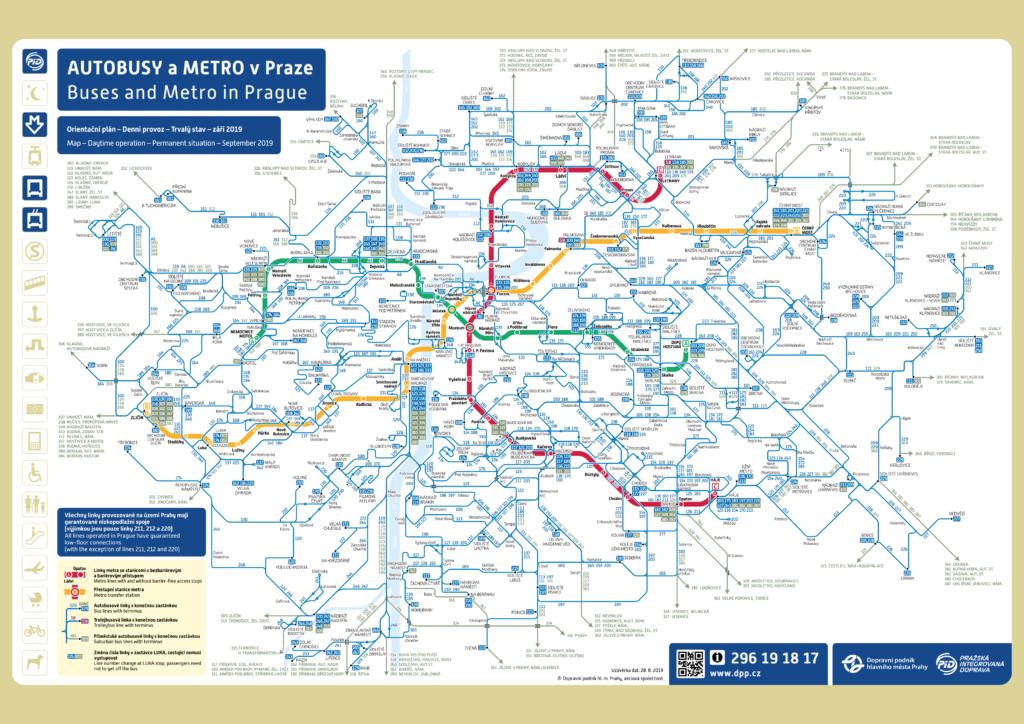 Метро и автобусные маршруты в Праге