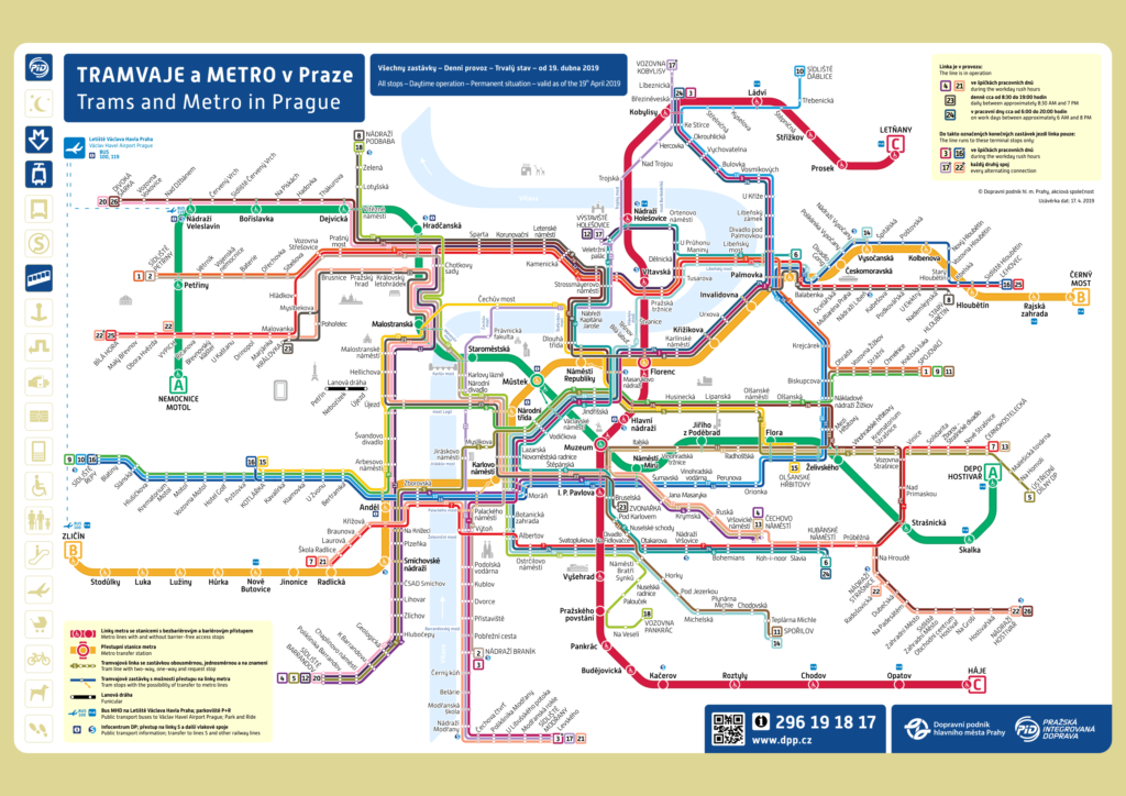 Схема метро Праги и остановки трамваев