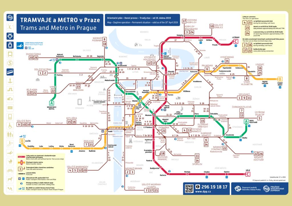 Схема метро и трамваев в Праге