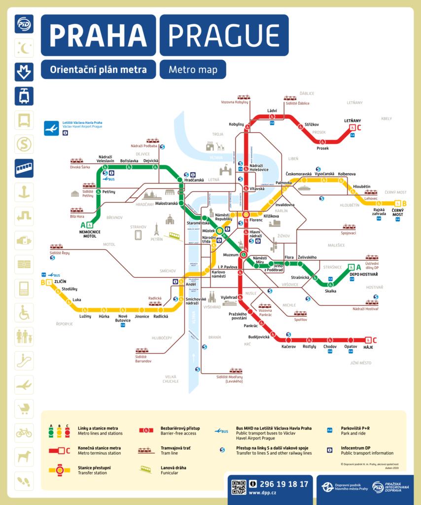 Схема метро Праги